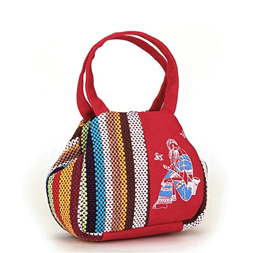 Girl BISSER National Style Ladies Small Handbag Mobile Phone Purse Hand Take Small Bag Mini Bag Middle-Aged Female Bag red