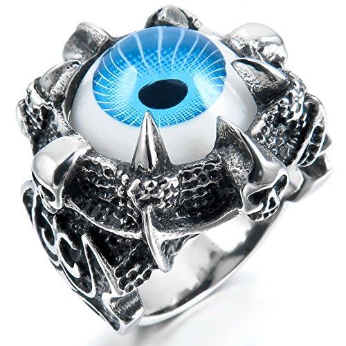 [INBLUE Men's Stainless Steel Ring Blue Silver Tone Black Dragon Claw Evil Devil Eye Skull Knight Fleur De Lis] (Evil Eye Skull Costumes)