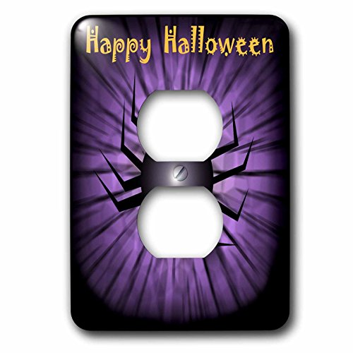 Dawn Gagnon Photography Halloween Designs - Happy Halloween Spider Greeting - Light Switch Covers - 2 plug outlet cover (Happy Halloween Greetings)