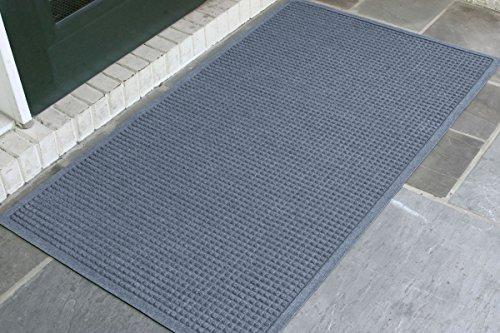 3' Width Vinyl Charcoal - WaterHog Fashion Commercial-Grade Entrance Mat, Indoor/Outdoor Charcoal Floor Mat 5' Length x 3' Width, Bluestone by M+A Matting