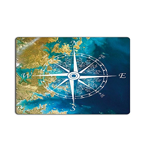 EZON-CH Modern Non Slip Bathroom White Compass Blue Ocean...