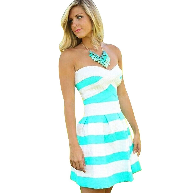 ipretty Sexy Damen Sommerkleid kurz Ärmellos Damen strandkleider damen Kleid Rock Partykleid Cocktaikleid