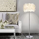 Elinkume Floor Lamp, Sheer Shade Feather Floor Lamp,Stand Light for Bedroom Living Room, Simple Modern Style (6W, White,Pedal Switch,Warm Light E27 Lamp Holder)