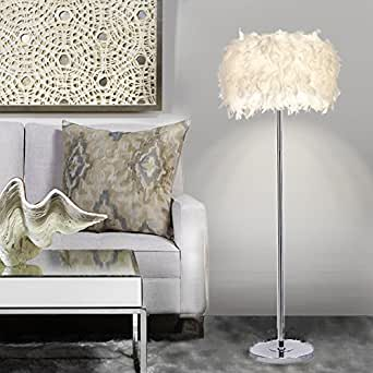 ELINKUME Lámpara de Piso, Lámpara de Pie Blanca de la Pluma, Estilo Moderno Simple (pluma blanca, interruptor del pedal, sostenedor de la lámpara E27)