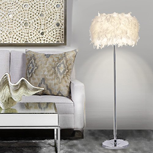 Elinkume Floor Lamp, Sheer Shade Feather Floor Lamp ,Stand Light For...