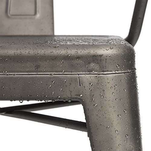 Furmax Metal Dining Chair Tolix Style Indoor Outdoor Use Stackable Chic Dining Bistro Cafe Side Metal Chairs Set of 4(Gun) by Furmax (Image #3)