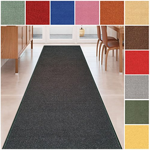 Custom Size BLACK Solid Plain Rubber Backed Non-Slip Hallway Stair Runner Rug Carpet 22 inch Wide Choose Your Length 22in X 7ft