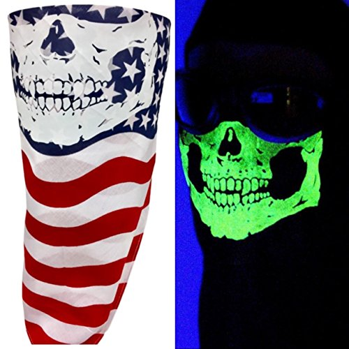 American Made Red White Blue USA Flag Cotton Half Face Bandana Mask Glow In The Dark Neon Short Fangs Skull VELCRO®Brand Adjustable Reversible Biker Neck Scarf (Red Bandana Halloween Ideas)