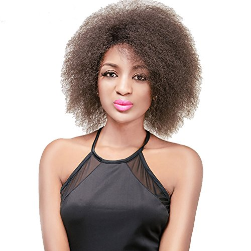 Search : SCENTW Sexy Short Fluffy Synthetic Afro Kinky Curly Hair Wigs For African Americans Women Natural Brown Wigs New Design Heat Resistant Costume Wigs + Free Wig Cap 6inch (4#/Brown)