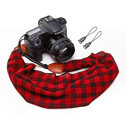 Camera Strap Scarf Vintage Plaid Fabric DSLR Universal Neck Shoulder Belt for Women by Deanoy(Red)
