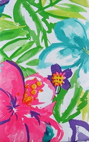 Summer Fun (Elrene) Watercolor Tropical Flowers Abstract Vinyl Flannel Back Tablecloth (52