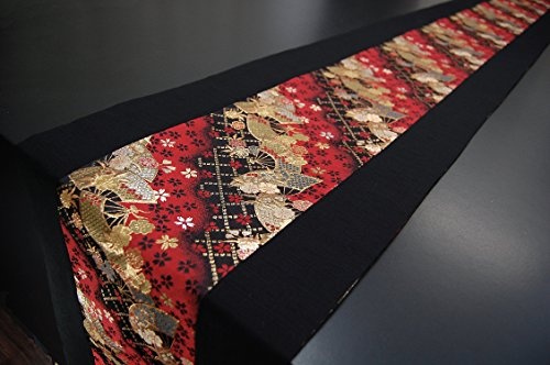 SHINSENDO KIMONO table runner 300x30cm Japanese traditional fabrics Kinran (Pattern name:Ougi) by SHINSENDO