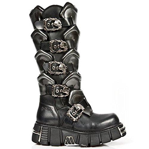 New Rock M.738-S1 Mettalic Men's Leather Black Boots Black iOAYJZJW