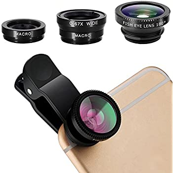 iPhone Lens,by GFKing®,3 in 1 Clip On 180 Degree Fish Eye Lens+0.67X Wide Angle+10X Macro Lens,Universal HD Camera Lens Kit for iPhone 6s/6s Plus/6/SE/5/5s,Samsung,Blackberry,Mobile Phone