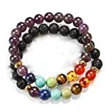HoodaSpa 2 Pack Chakra and Lava Bracelets by 7 Chakra and Diffusible Lava Rock Stone and Amethyst with 7 Chakra Lava stone Bracelets - Natural Stone for Healing, Relaxation and Energy