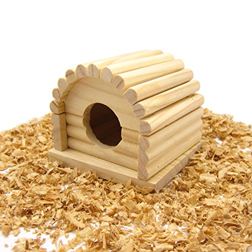 Alfie Pet by Petoga Couture - Bryan Wood Hideout Hut for Mouse, Chinchilla, Rat, Gerbil and Dwarf Hamster (Hamster Wood Hut)