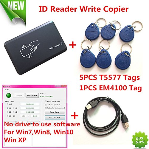FidgetFidget USB 125KHZ RFID EM Card Reader Writer Copier Duplicater Clone T5577 Programmer by FidgetFidget