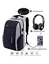 Mochila antirrobo, mochila Daypack 35L con conector de auriculares con interfaz de carga USB y candado con contraseña, mochila al aire libre para negocios de hombres y mujeres, mochila para portátil de 12-16 pulgadas, estudiante (Gris) (Gris)