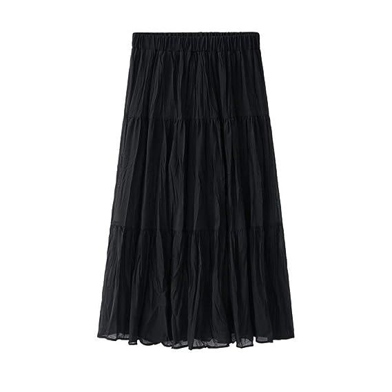 Falda Mujer Gasa Sólida Plisada Retro Falda Larga Larga Elástica ...