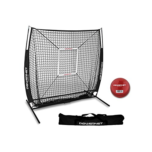 PowerNet 5x5 Practice Net + Strike Zone + Weighted Training Ball Bundle (Black) | Baseball Softball Coaching Aid | Compact Lightweight Ultra Portable | Team Color | Batting Screen ()