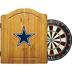 Imperial Officially Licensed NFL Merchandise: Dart Cabinet Set with Steel Tip Bristle Dartboard and Darts, Dallas Cowboys