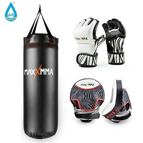 MaxxMMA 3 ft。水/ Air重いバッグ70120ポンド。+ Zebra MMA Grappling Gloves & Zebra Mitts B06W9M4GJ4