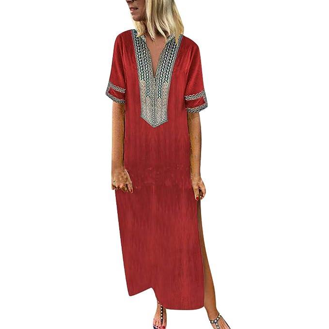 96e6a4cc5981 JERFER Long Dress Women s Printed Sleeveless V-Neck Maxi Dress Hem Split  Baggy Kaftan