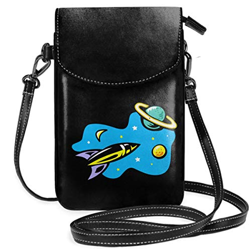 Small Cell Phone Purse For Women Leather Rocket Satellite Insides Card Slots Crossbody Bags Wallet With Shoulder Strap ()