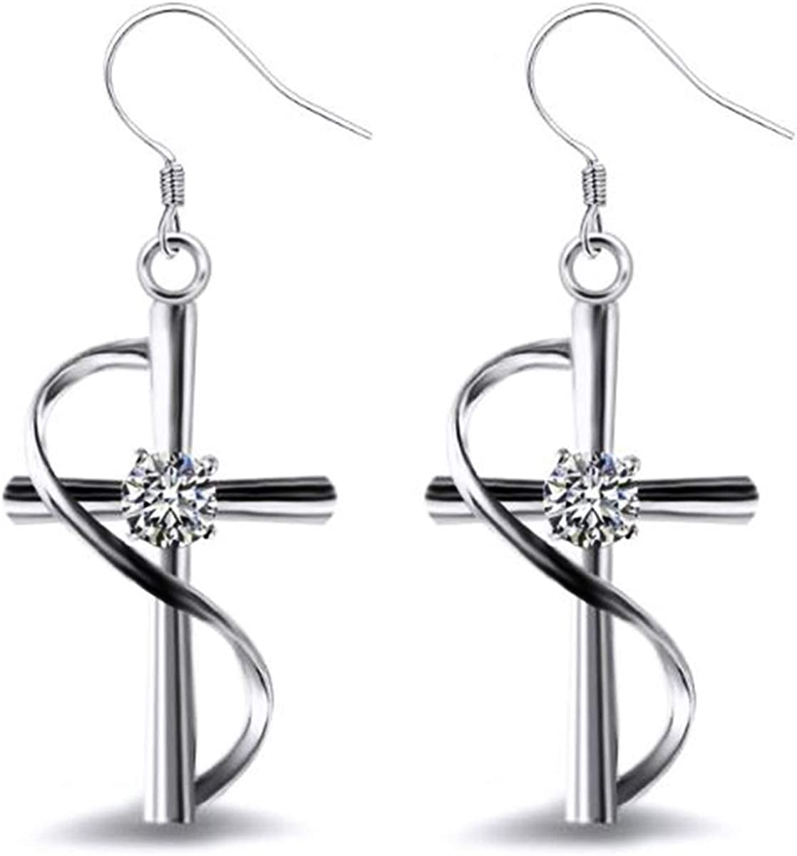 Women\u2019s gifts 925 Sterling silver wire Cross Crystal Titanium CZ ball beads unique jewelry 925 sterling silver necklace