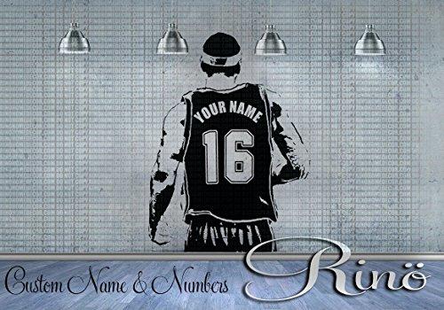 Basketball Player Decal - Wall Art Basketball - Custom Name basketball - Choose Name and jersey Numbers - Vinyl sticker decor kids bedroom