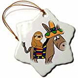 3dRose All Smiles Art Animals - Funny Cool Sloth Riding Mexican Burro with Sombrero - 3 inch Snowflake Porcelain Ornament (orn_273488_1)