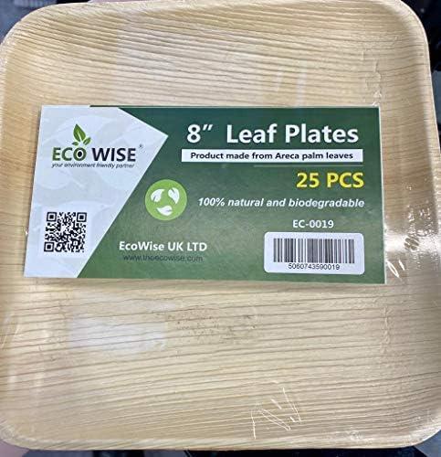 compostable 25 Pieces 20x20 cm EcoWise Disposable Palm Leaf Plate