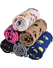 MarJunSep Lovely Pet Paw Prints Fleece Blankets for Dogs Cats Animals