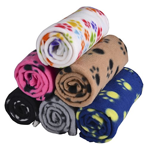 5 Packs 5 Colors Lovely Pet Paw Prints Fleece Blankets for Dogs Cats Small Pets (Medium Fleece Blanket)
