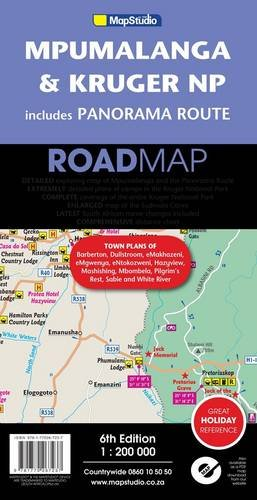 Mpumalanga & Kruger National Park includes panorama route road map