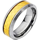 Brand New Mens Band Ring crafted in Pure Tungsten with Gold Carbon Fibre, packed in a Free Gift Box.
