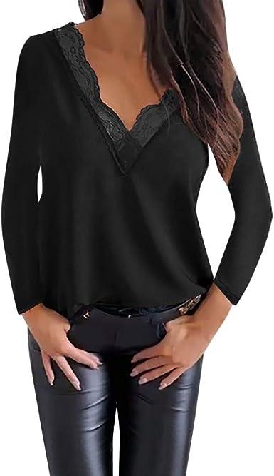 Sylar Camisetas De Mujer Camisa Mujer Manga Larga para Otoño Camisetas De Mujer Color Sólido con Cuello En V Suelto Tops Blusa Mujer Elegante Blusa De Mujer con Encaje: Amazon.es: Ropa y