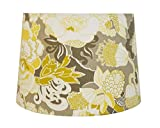 Unique Retro Drum Lamp Shade, Best for 8'' Harp, Floral Print in Yellow, Grey, White, 12x14x9.5''