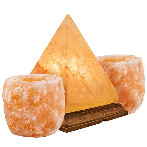 Natural Himalayan Salt Lamp w/Salt Candle Holders