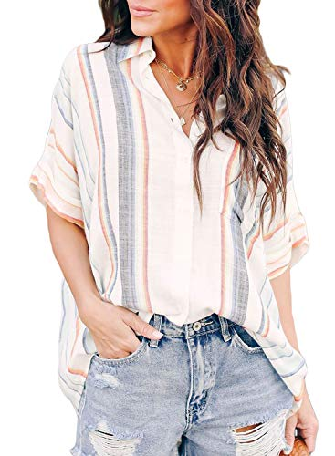 (Biucly Women's Casual Stylish Striped V Neck Button Down Cuffed Sleeve Blouses Shirts Tops Pullover S-2XL)