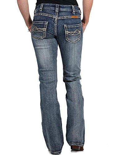 Cowgirl Tuff Women's Timeless Barbed Wire Jeans Boot Cut Blue 32 ()