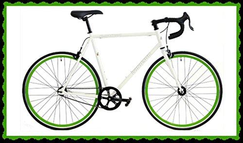 Windsor Clockwork Plus Single Speed Fixed Gear Fixie Bike Bicycle (White with Green Wheels, 61cm)