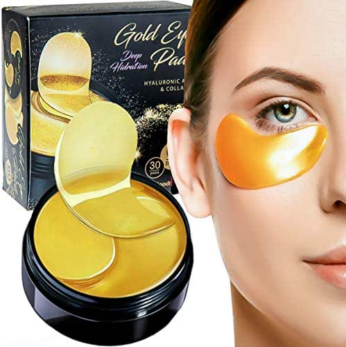 Luxury Collagen Gel Eye Pads Mask 24K Gold Patches (60 pack) for Moisturizing Puffy Eyes Dark Circles Under Eyes Relief Anti-Aging Anti-Wrinkle Hyaluronic Acid Deep Hydration Face Skin Treatment