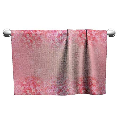 Bensonsve Floral Hand Towels Light Pink,Plum Blossom Botany Beauty Natural Spring Flowers Seasonal Background Print, Coral Ruby,Towel for Hair ()