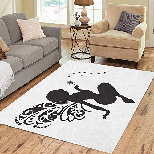Semtomn Area Rug 5' X 7' Dust Silhouette of The Fairy Wings and Magic Wand Home Decor Collection Floor Rugs Carpet for Living Room Bedroom Dining Room