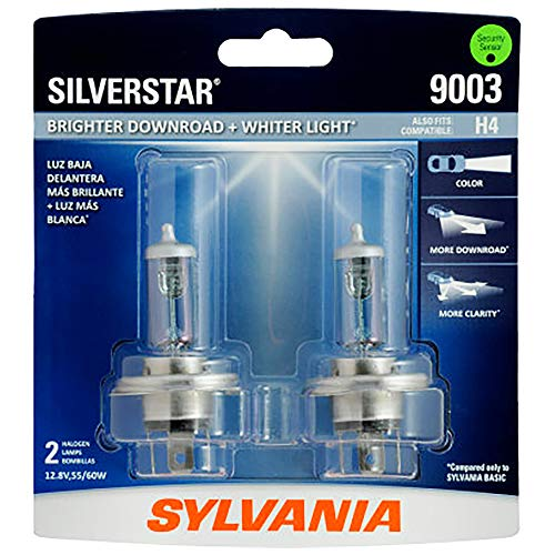 SYLVANIA - 9003 SilverStar - High Performance Halogen Headlight Bulb, High Beam, Low Beam and Fog Replacement Bulb, Brighter Downroad with Whiter Light (Contains 2 - Halogen Headlight