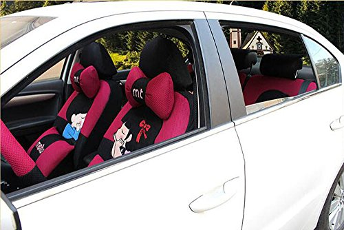 20pcs/SET new 2016 luxury cartoon Lover Seat Covers for cars Front & Back car covers four seasons Universal car seat cover car interior rose & Black V5610 by Maimai88 (Image #1)