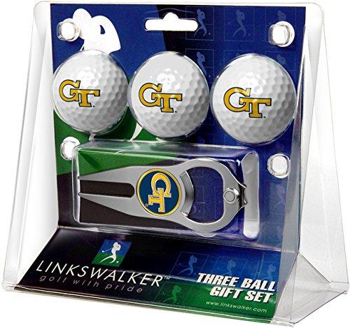 NCAA Georgia Tech Yellow Jackets - 3 Ball Gift Pack with Hat Trick Divot (Georgia Logo Golf Balls)