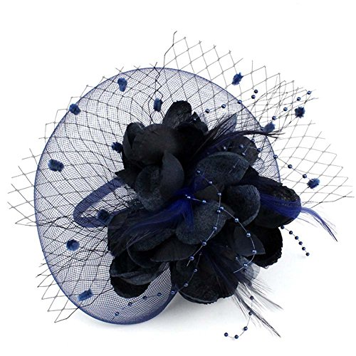 (Auranso Derby Netting Mesh Headband Feather Big Flowers Hair Band Tea Party Girls Women Wedding Bridal Fascinator Hat Navy Blue)