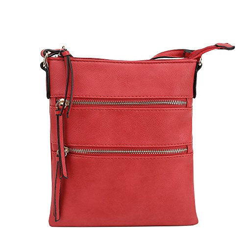 Lily Jane Essential Casual Multi Pocket Crossbody Bag (Red)